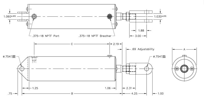 4 Inch (in) Bore Size and 32 Inch (in) Stroke Length High-Lift Pneumatic  Cylinder